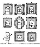 Family portraits. Vector hand-drawn characters line Stock Photos