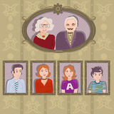 Family portraits in frames Stock Image