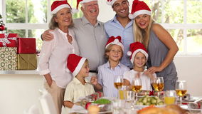 Family posing for Christmas photo stock footage