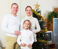 Family  posing for Christmas portrait Stock Photo