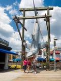 Family posing near shark from Jaws at Universal Studios Florida Stock Photos