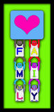 FAMILY POSTER WITH 6 ALPHABETICAL CHILDREN Stock Photography