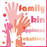 Family poster with human hands Stock Image