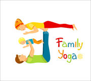 Family practicing yoga Stock Image