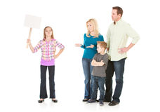 Family: Pre-Teen Girl on Strike from Family Royalty Free Stock Photography