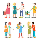 Family pregnant casual people parents parenting flat vector. Family pregnant casual urban young people parents parenting couple flat web infographic concept Royalty Free Stock Images