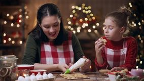 Family preparation holiday food. Cooking cookies. stock video