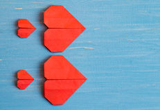 Family prepared for Valentine's Day. Origami of heart. Concept. Family prepared for Valentine's Day. Origami of heart. Concept of family. Point of view shot royalty free stock image