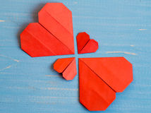 Family prepared for Valentine's Day. Origami of heart. Concept. Family prepared for Valentine's Day. Origami of heart. Concept of family. Point of view shot stock images