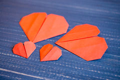 Family prepared for Valentine's Day. Origami of heart. Concept. Family prepared for Valentine's Day. Origami of heart. Concept of family. Point of view shot royalty free stock photography