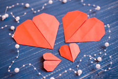 Family prepared for Valentine's Day. Origami of heart. Concept. Family prepared for Valentine's Day. Origami of heart. Concept of family. Point of view shot stock photography