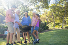 Family preparing barbecue in the park. On a sunny day Royalty Free Stock Photos