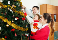 Family   preparing for Christmas Stock Photo