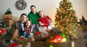 Family preparing for Christmas royalty free stock images