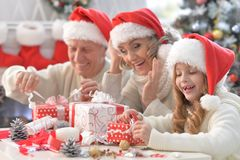 Family preparing for Christmas. Portrait of happy grandparents with grandchild preparing for Christmas together Stock Images