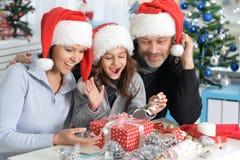 Family preparing for Christmas. Portrait of  family preparing for Christmas together Stock Images