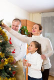 Family preparing for Christmas Stock Photography