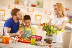 Family preparing Easter celebration Stock Photo