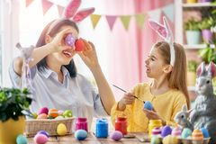 Family preparing for Easter Stock Image