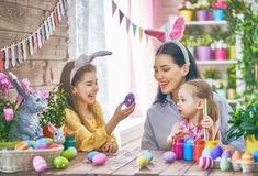 Family preparing for Easter Stock Photography