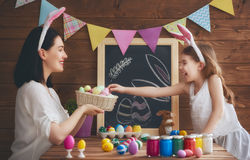 Family preparing for Easter Royalty Free Stock Images