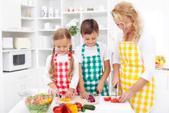 Family preparing fresh salad Stock Image