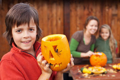 Family preparing for Halloween Stock Photo
