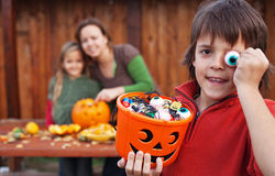 Family preparing for the halloween Stock Image