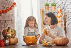 Family preparing for Halloween. Stock Photos