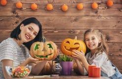 Family preparing for Halloween. Stock Image
