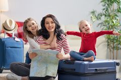 Family preparing for the journey royalty free stock photo