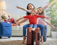 Family preparing for the journey stock image