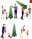 The family is preparing for the new year.Parents give gifts. Stock Photography