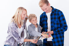Family preparing for renovation Stock Photos