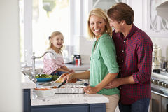 Family Preparing Roast Turkey Meal In Kitchen Together Royalty Free Stock Photography