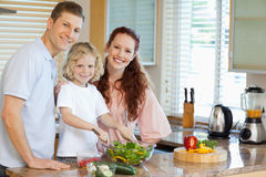 Family preparing salad Stock Photography