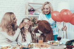 Family Preparing Surprize for Daughter at Home stock image