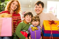 Family with presents Stock Photo