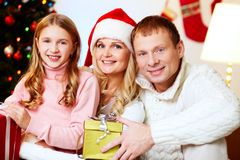 Family with presents Royalty Free Stock Photo