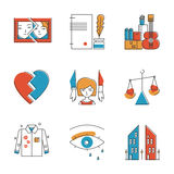 Family problem line icons set Royalty Free Stock Photo