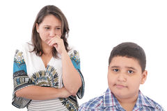 Family Problems. Problems between mother and her son. Family Problems. Focus on the woman Royalty Free Stock Photography