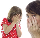 Family problems concept. Sad mother and doughter - problems concept royalty free stock photography