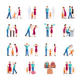 Family Problems Icons. Flat color icons set depicting family problems of parents and children isolated vector illustration Stock Photos