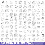 100 family problems icons set, outline style. 100 family problems icons set in outline style for any design vector illustration Royalty Free Stock Photo