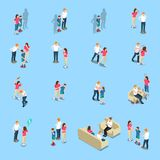 Family Problems Isometric Icons. With lack of money, quarrel and violence, alcoholism, blue background, isolated vector illustration Stock Photography
