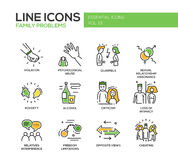 Family problems- line design icons set Stock Photo