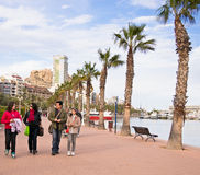 Family on Promenade in Alicante, Spain Stock Images