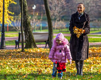 Family promenade in autumn park Stock Photography