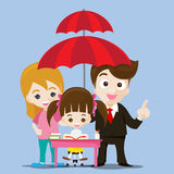 Family protect concept business man cartoon smile and umbrella i. Education protect concept business man cartoon smile and umbrella in hand with cute little girl royalty free illustration