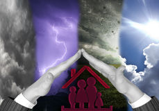 Family protect. The family must be united regardless of weather Stock Photography